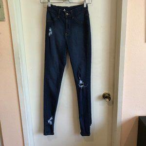 Fashion Nova Dark Blue Distressed High Rise Jeans